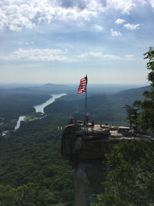 Look Closely and see Rick H on top of Chimney Rock