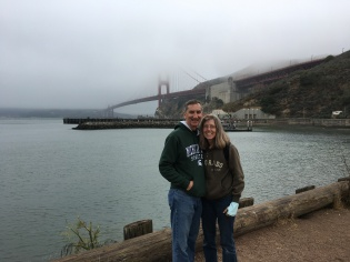 SF Glen and Kim at GGB--Fog