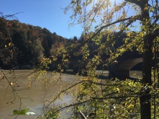 Cumberland river and colors with bridge prior to the falls