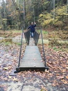 Hocking hills hiking suspension bridge