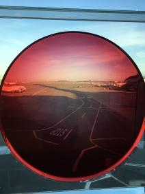 SFO--looking at airport through rose collered glasses