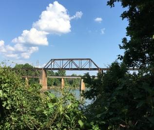 walking in columbia rail road bridge