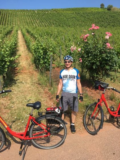 Bike tour 2018 at vinyard with Glen and bike rose bush