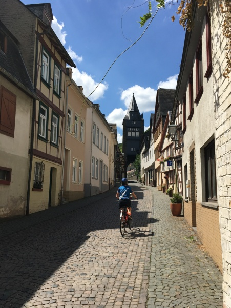 Bike tour 2018 bike parth along the Rhine--coblestone streets