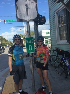 Ride to Keys 2019 fifth day--ride around Key West MM 0 marker GK