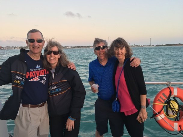 Ride to Keys 2019 fourth day made it to key West--sunset cruise Bonnie and Adam and KG