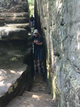 NB--Kim through the narrow path on the way up to NB