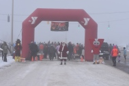 Santa getting ready to welcome the starting of the 5k