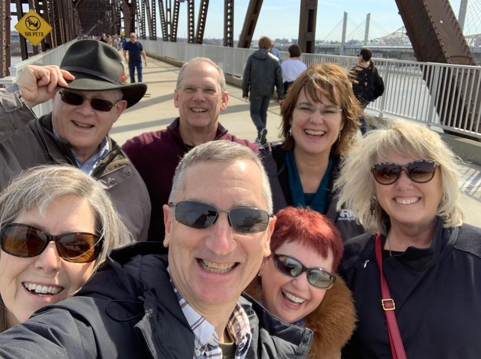 Group lousiville walking bridge