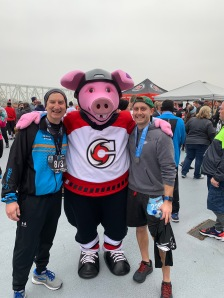After the race with the team mascot.